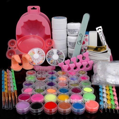 Conjunto completo acrílico pó UV Gel Primer Glitter dica Nail Art arquivo escova poeira Kits em Assentos & conjuntos de Health & Beauty no AliExpress.com | Alibaba Group