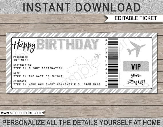 Birthday Gift Airplane Ticket Printable Boarding Pass Etsy Surprise Trip Reveal Gift Certificate Template Ticket Template