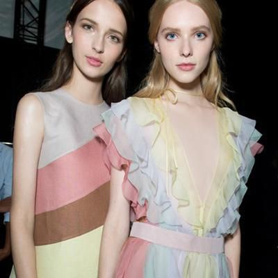 Colour combo to try this summer: powder pink+ lemon+ powder blue#mytheresa.com. #GetItNow #Valentino #CovetMe #fashion
