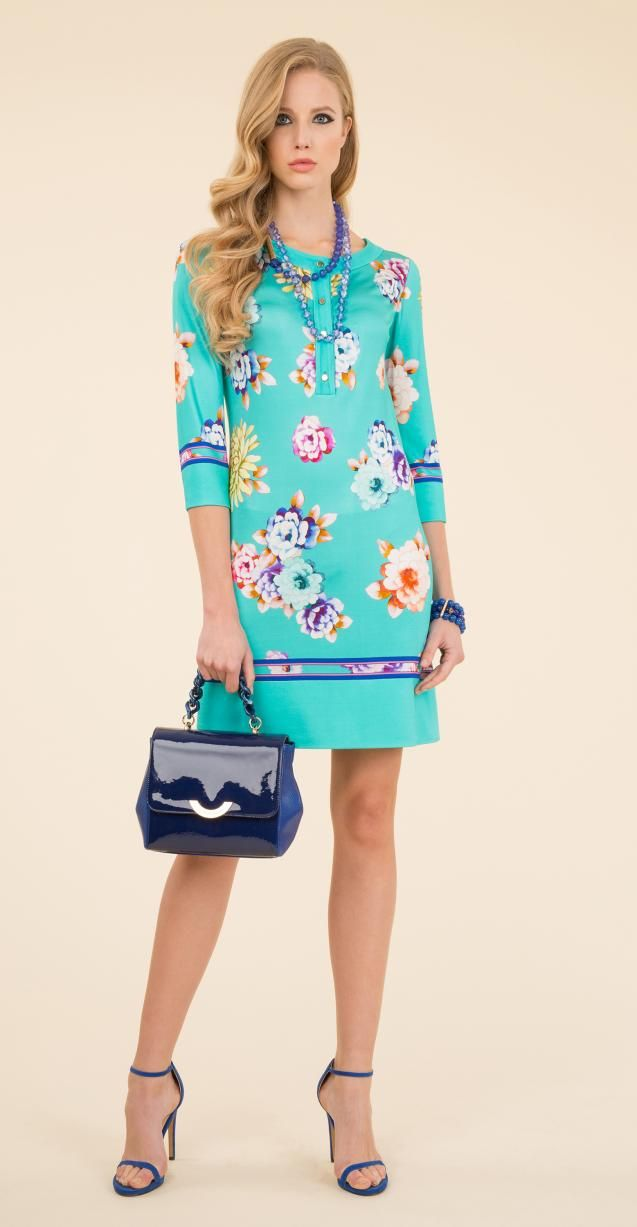 Floral printed dress, Isabel bag and Nagi bracelet.