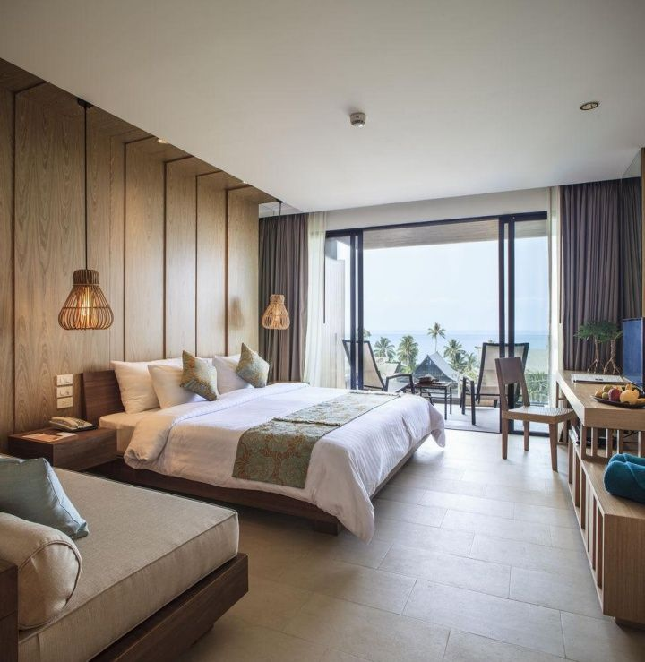 Timber panelling finishing into ceiling raft KC Grande Resort Spa by Foundry of…