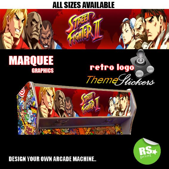 Street Fighter 2 V5 Arcade Marquee Stickers Graphic Laminated