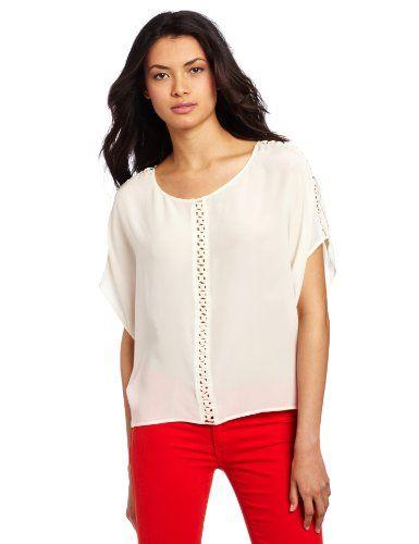 Aryn K Women's Short Sleeve Blouse, Cream, X-small