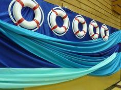 cruise ship themed centerpieces | Cruise Ship Theme- the draped fabric looks like water. @Nicole Novembrino ...