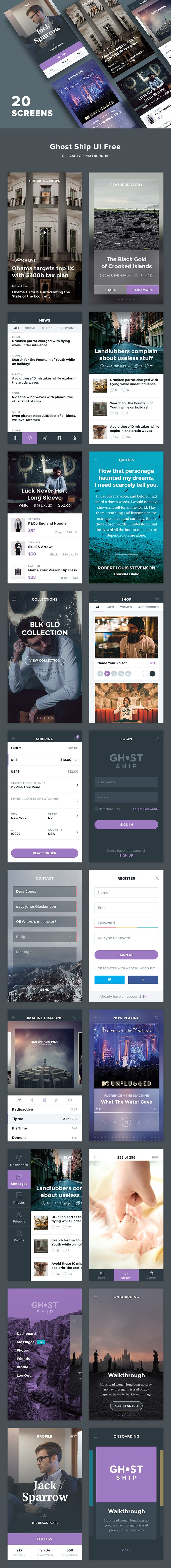 Free Download : Ghost Ship Mobile UI Kit (20 Screens)