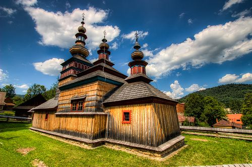 Another Wooden Church This is one of the two wooden churches in the Open Air Museum in Bardejovske Kupele, Slovakia.