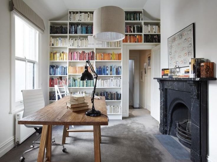 Workspace: Color Bookshelves, Home Libraries, Colour Cod, Offices Spaces, California Home, Book Bookshelves, Color Codes, Homes, Home Offices