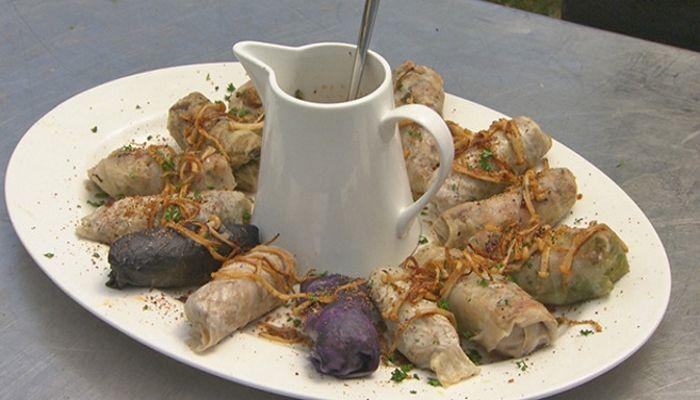 Kat and Andre's Pork & Mushroom Cabbage Rolls with Mushroom Sauce