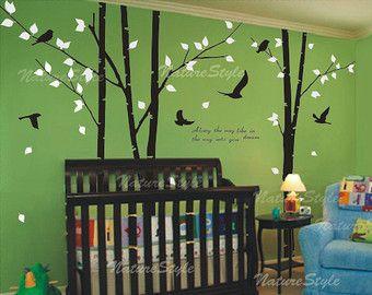 3 árbol de abedul con el vuelo de aves-árbol vivero por NatureStyle