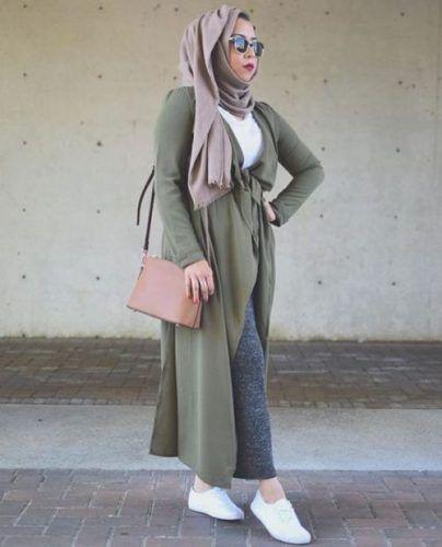 long olive cardigan neutral hijab- Hijab fashion guide 2016…