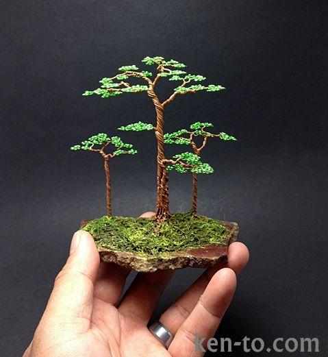 Flat top wire bonsai tree sculpture by Ken To by KenToArt.deviantart.com on @deviantART