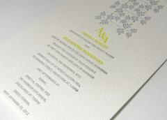 Using a thick adhesive ink of any Pantone Colour your invitation can be transformed into a work of art Autumn Love is a2 color letterpress invitation design created using 2 separate plates.The first plate creates the yellow, while the second plate creates the silver text and image Inspired Design uses only the best 100% cotton imported stocks which are both thick environmentally friendly and perfect for letterpress printing.