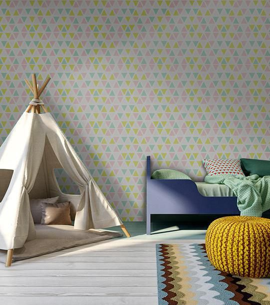 Creative geometric wall decor - wall mural with colorful print. Removable wallpaper for modern home design #kidsroom #moderndecor #moderninteriordesign #interiordesignideas #wallpaper #wallmurals #wallcovering #walldecor #decorideas #colorful #geometric #pattern  #triangle #triangles
