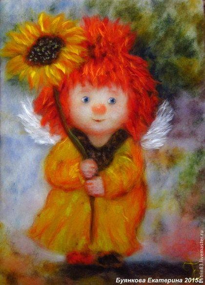 """Картина из шерсти """"Ангел с подсолнухом"""" - картины из шерсти,ангел,шерстяная акварель"""