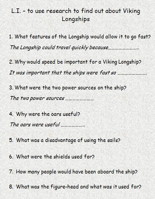 Information and questions on Viking longboats - ideal as a short comprehension task.