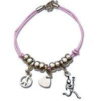 Peace. Love. Lacrosse Girl (Stick Figure) Silver Charm Bracelet