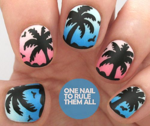Tutorial Tuesday: Palm Trees + Review of Barry M Matte Topcoat, read more on my blog