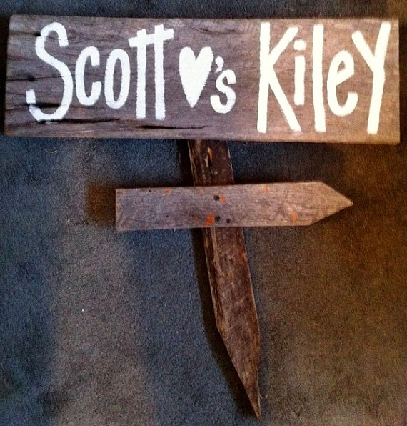 Personalized bride and groom sign salvage barn wood primitive custom available. $32.99, via Etsy.