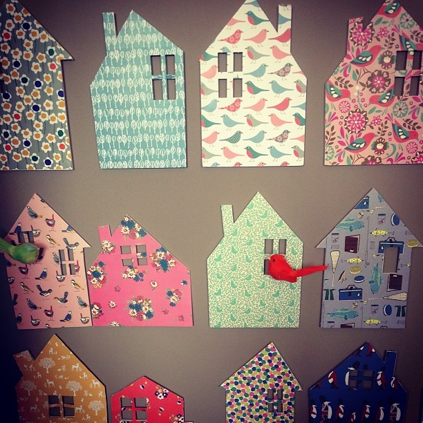 Using cute fabrics to make designs on the wall is such a great idea!  From Boden. Tweet tweet from #bodenpressday