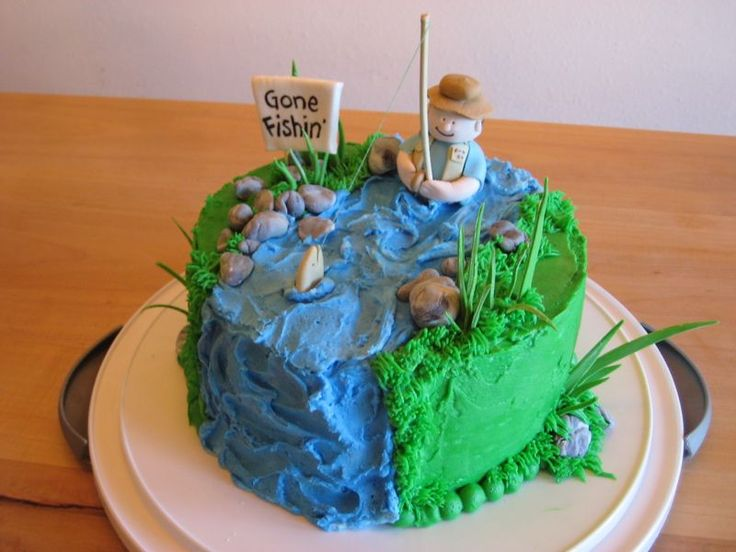 Fly fishing cake i made this cake for my dad 39 s birthday for Fish birthday cakes