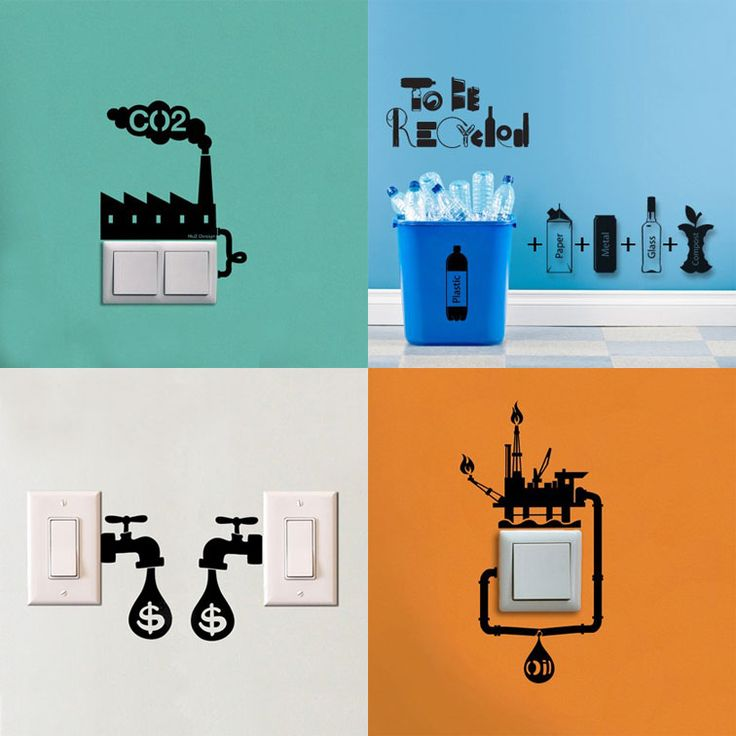 apply fun wall decals to your power switches for a friendly reminder to save - Wall Stickers Design Your Own