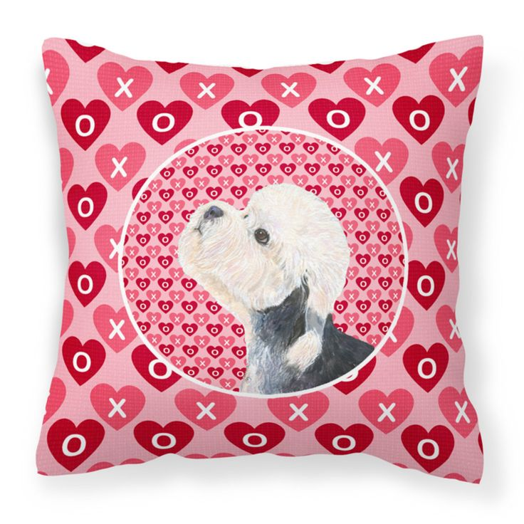 Caroline's Treasures Dandie Dinmont Terrier Hearts Love Valentines Day Decorative Outdoor Pillow - SS4503PW1414