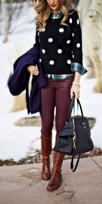 Reach for a violet coat and burgundy skinny jeans to create a chic, glamorous look. Brown leather knee high boots are a good choice to complete the look.  Shop this look for $770:  http://lookastic.com/women/looks/knee-high-boots-and-tote-bag-and-skinny-jeans-and-coat-and-crew-neck-sweater-and-button-down-shirt/4105  — Brown Leather Knee High Boots  — Black Leather Tote Bag  — Burgundy Skinny Jeans  — Violet Coat  — Black and White Polka Dot Crew-neck Sweater  — Navy and Green Plaid Button…