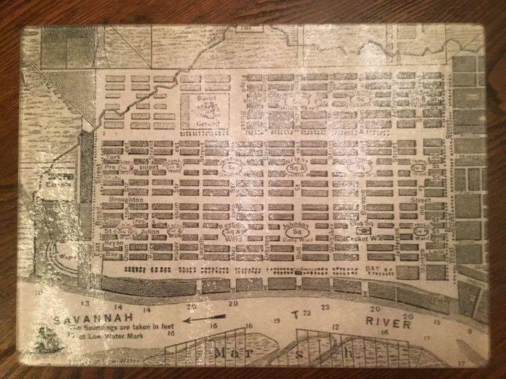 Savannah Map Large Rectangle Cutting Board - Savannah Jack's