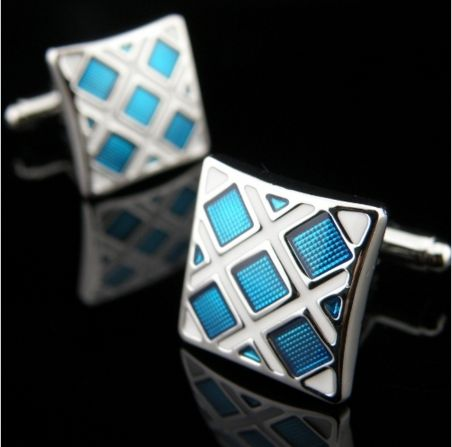 Blue Squares on White Face Cufflink