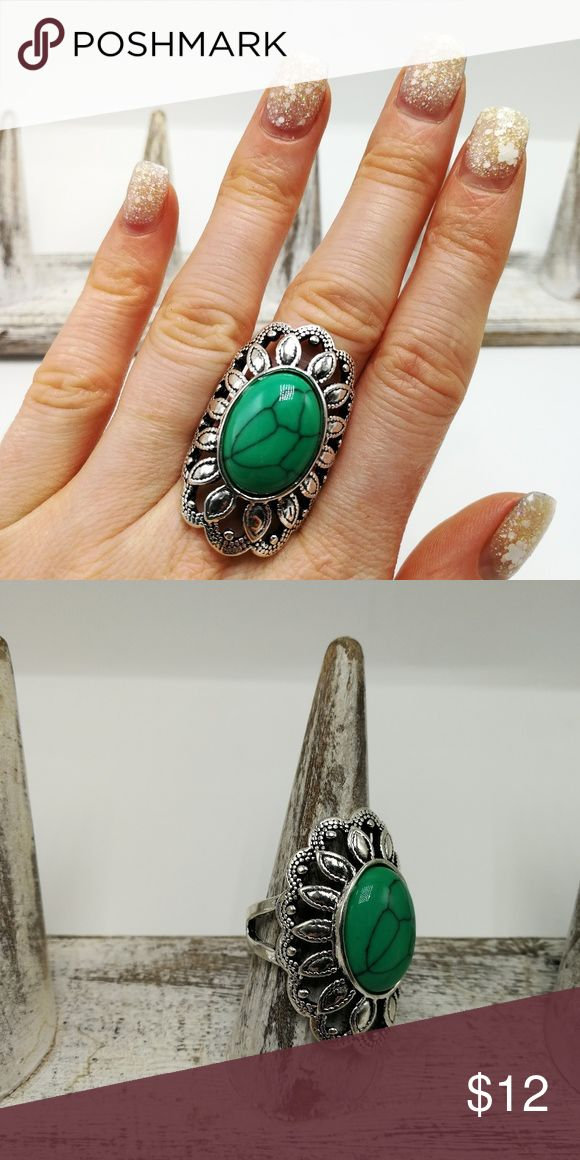 🌸🌿🌸 5 for $25 🌸🌿🌸 New with tags! Gorgeous Natural Gemstone White Buffalo Turquoise howlite Tibet Silver ring. Mixed metals. Lead and nickel free. Price is firm. No holds. Bundle to SAVE. R#2645 PLUS SIZE *GREEN/BLUE TURQUOISE* Jewelry Rings