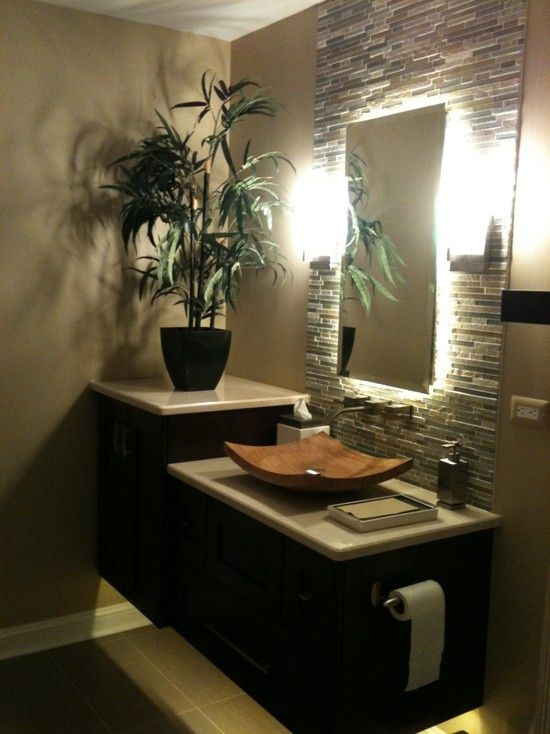 Attractive 42 Inspiring Tropical Bathroom Décor Ideas : 42 Amazing Tropical Bathroom  Décor Ideas With White Black Wooden Wash Basin Closet Tissue Plant Decor  Lamp And ...