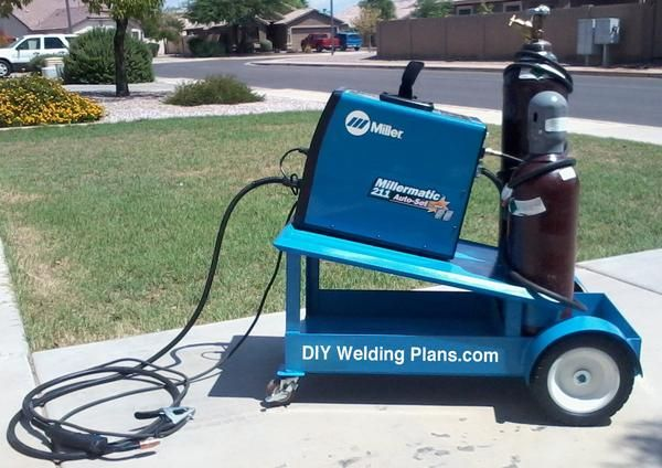 We designed a sleek welding cart to hold the welder and 2 cylinders for welding mild steel and aluminum. After the paint job and miller sticker we got such a st