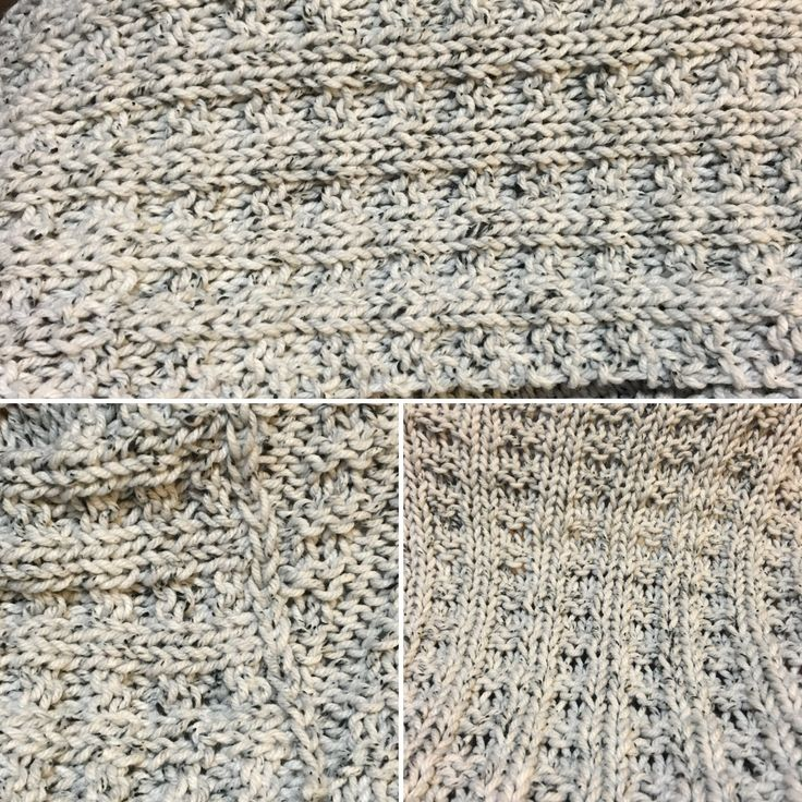 Loops & Threads Tweed Big - Light Gray. Blanket.   76 stitches.  12mm needles.  Waffle stitch. 3 balls