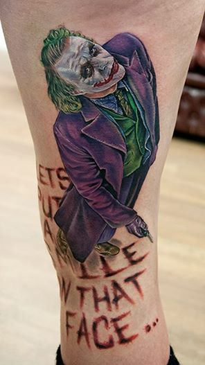 """Cecil Porter - """"Heath Ledger Joker, this was a fun and challenging piece. Done in Scotland at Main Street Tattoo."""""""
