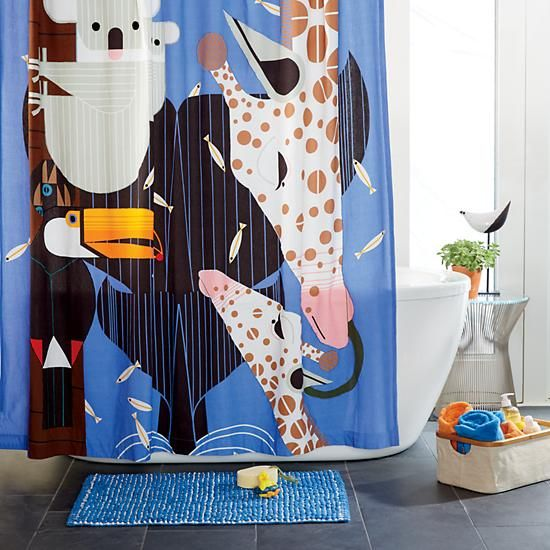 """Tip: Remember to shop at children's stores, too — quite often they have colorful, """"less serious"""" decor that is great for our midcentury modern and midcentury modest homes. Case in point: Thanks to Emily for this great tip about a new Charley Harper collection for Land of Nod. That shower curtain — I LOVE IT! …"""