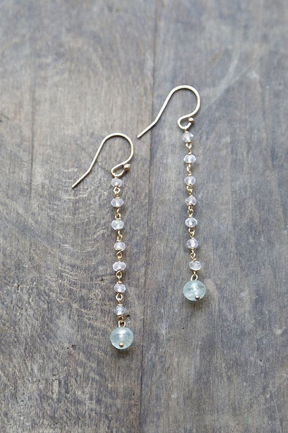 Moonstone and Aquamarine Stone Chain Earrings, Long Dangling Earrings, Delicate Chain Earrings, Moonstone Jewelry, Moss Aquamarine Earring