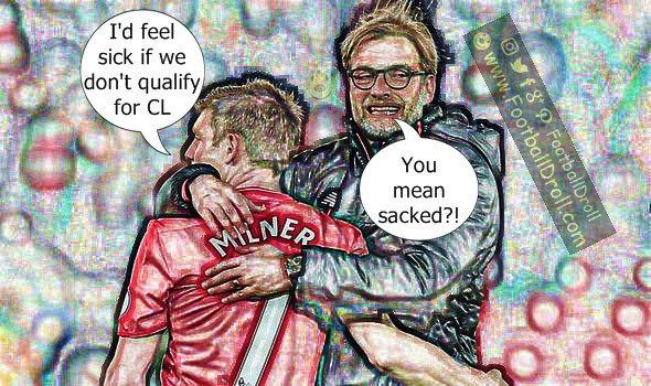 James Milner Would Feel Sick if Liverpool Don't Qualify for the Champions League #Milner #Klopp #Liverpool #Southampton #LIVSOU #Arsenal #Mourinho #Chelsea #EPL #Guardiola #Messi #Barcelona #Ronaldo #Neymar #FCBarcelona #Jokes #Comic #Laughter #Laugh #Football #FootballDroll #Funny #CR7 #FCBLive #HalaMadrid #ForçaBarça #LaLiga #RealMadrid
