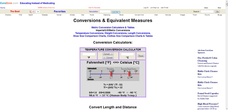 Conversions & Equivalent Measures:    Metric Conversion Calculators & Tables*  Imperial/US/Metric Conversions*  Temperature Conversions*  Weight Conversions*   Length Conversions*  Shoe Size Comparison Charts*  Clothes Size Comparison Charts & Tables*