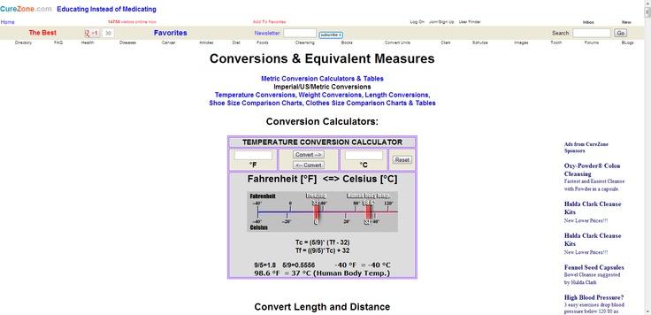 Conversions & Equivalent Measures:    Metric Conversion Calculators & Tables*  Imperial/US/Metric Conversions*  Temperature Conversions*  Weight Conversions*   Length Conversions*  Shoe Size Comparison Charts*  Clothes Size Comparison Charts & Tables*