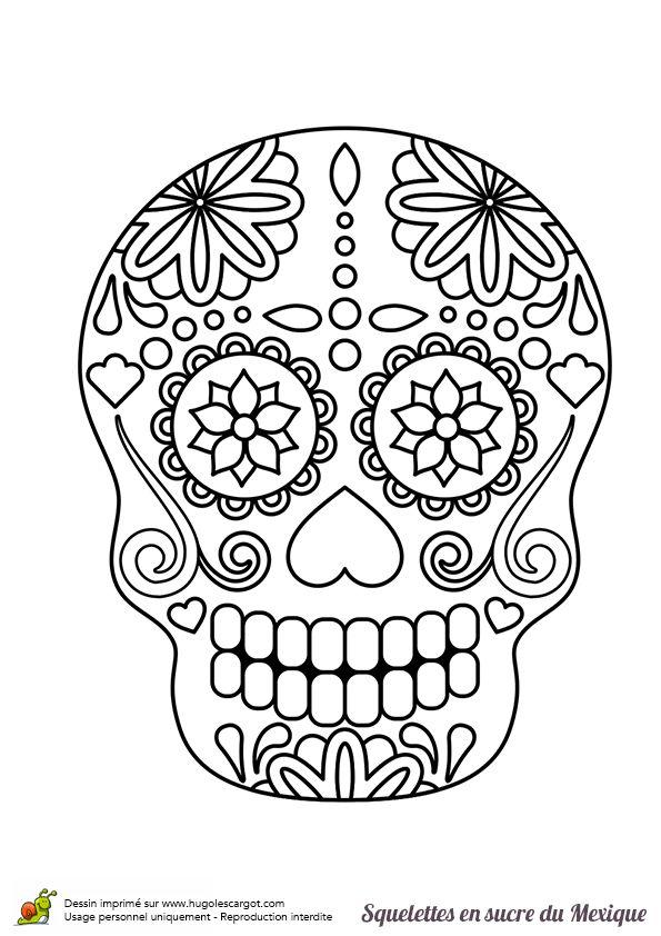 Coloriage squelette sucre fleurs sur - Hugolescargot com coloriage ...