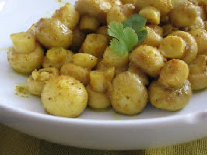 Receita Entrada : Cogumelos salteados com alho e coentro (vegana) de Cantinho Vegetariano