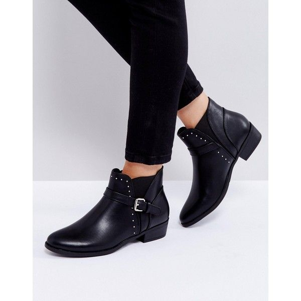 Truffle Collection Flat Chelsea Boot with Buckle Trim ($31) ❤ liked on Polyvore featuring shoes, boots, ankle booties, black, chelsea bootie, black flat ankle booties, flat boots, black flat booties and black low heel boots