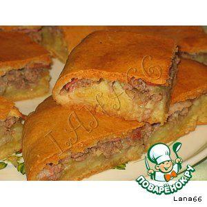 пирог с мясом ,картофелем и беконом