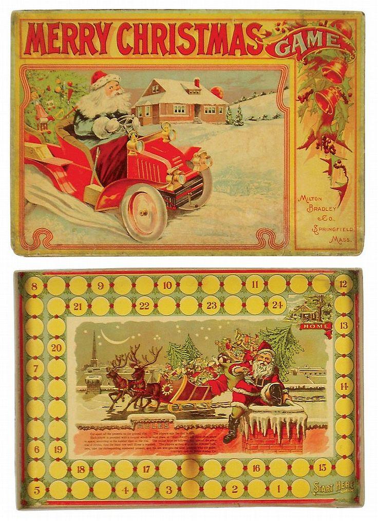 """Merry Christmas "" Antique Board Game, Milton Bradley."