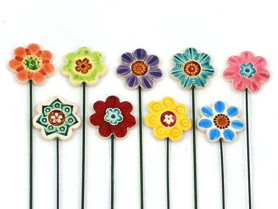 Ceramic Flowers- Planter decor- Garden decor- Ceramic- Spring- Planter art-Planter stake-Herb signs-Garden-Mums day-Office-Home-Summer