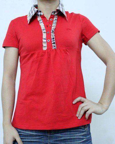 Camisetas Burberry Mujer RG56Camisetas Burberry Mujer Polo Cuello Color Puro Rojo y Calidad Alta