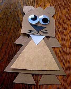 Geometric groundhog day craft for elementary school math class! Fun way to learn about geometry, while doing a fun craft for Groundhog Day! Your students will love it. You could put them up on a February theme bulletin board when they're completed!