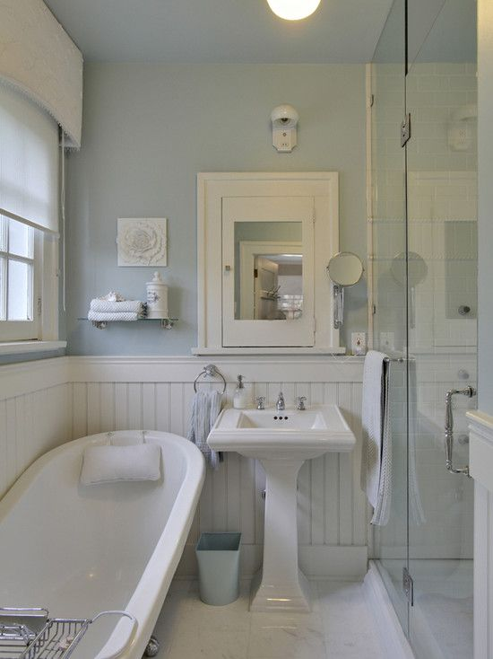 Suzie: Bilton Design Group   White And Blue Cottage Bathroom With Blue  Walls Paired With