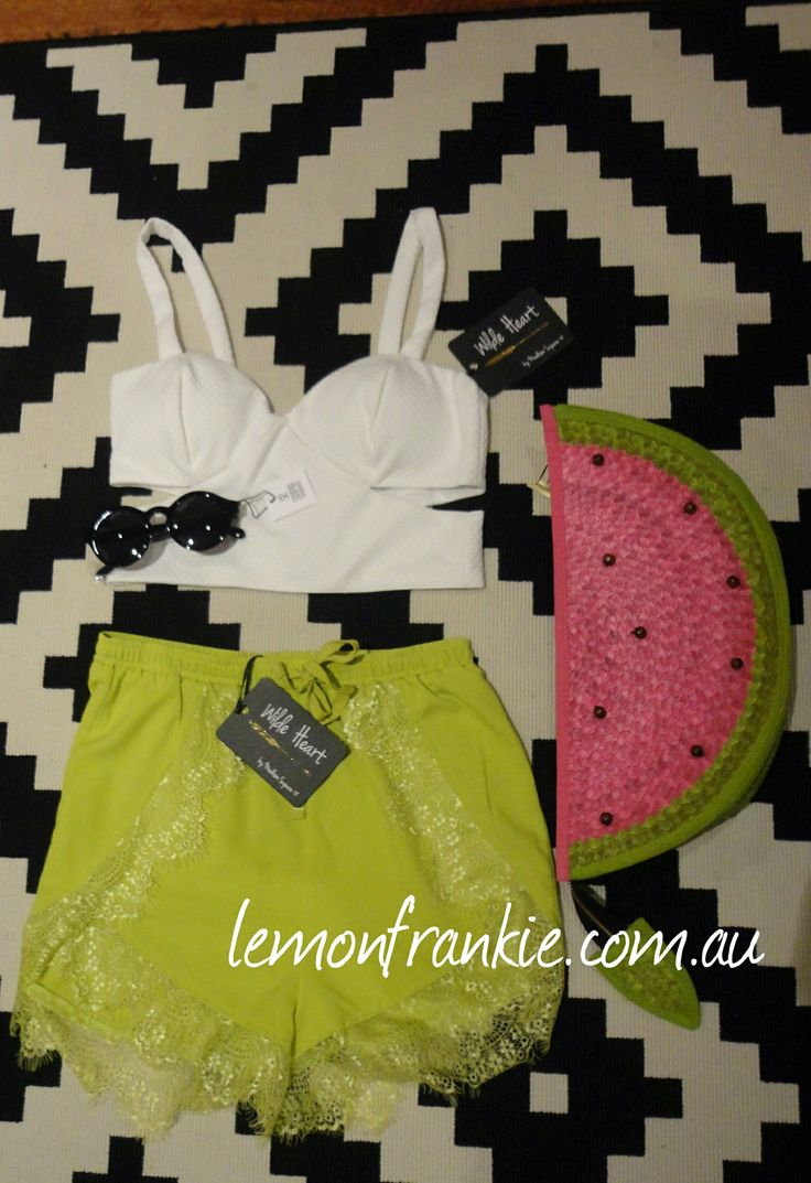 House of Cards watermelon clutch with Madison square crop and shorts