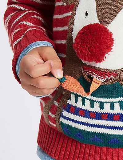 Pure Cotton Reindeer Jumper (3 Months - 5 Years) | M&S